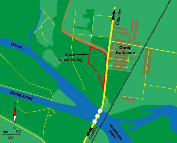 Prikaz rute poučne staze Kuršanski lug kod Gornjeg Kuršanca
